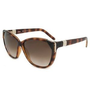 Chloe cat eye tortoise shell with gold sunglasses